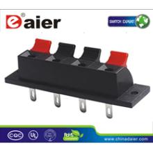 Daier WP4-1 4P rojo y negro Clip primavera altavoces terminales 4P