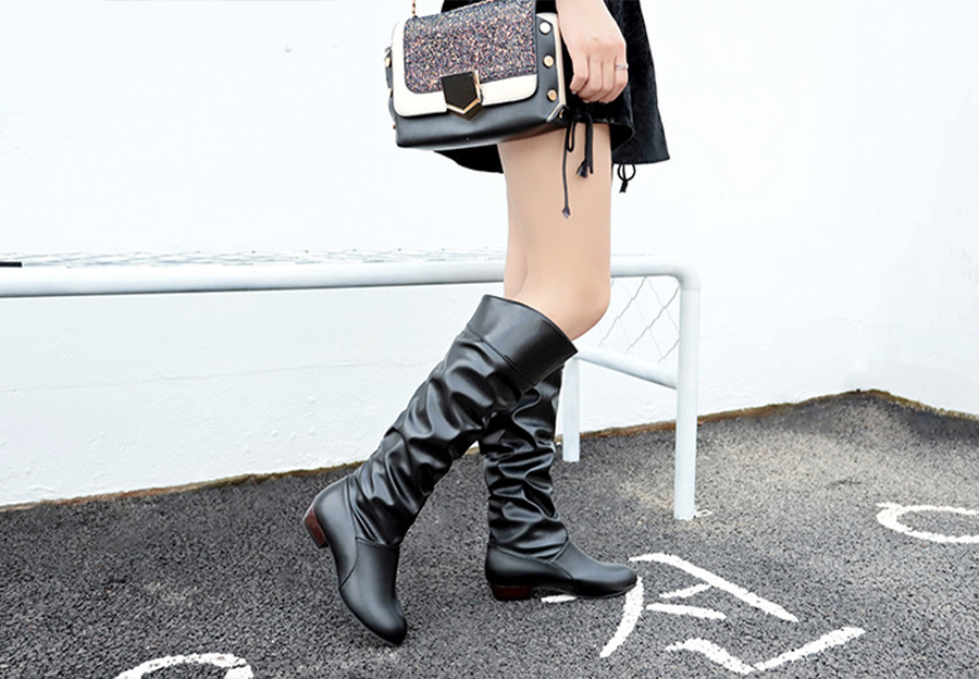Black ladies slouch boots