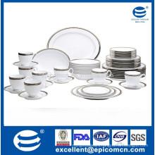 20pcs round series silver royal porcelain dinnerware set
