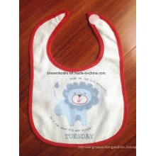 Promotional Cartoon Cotton Terry Custom Printing Velcro Baby Bib Printed Baby Apron