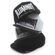 Chapéu de snapback de aba plana bordado preto de alta qualidade