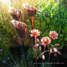 outdoor decoration modern metal sculptures for Copper Lily Garden