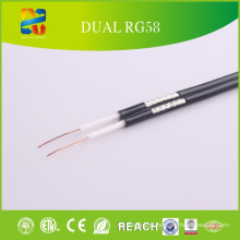 Alta qualidade 50 Ohm Rg58 Dual cabo coaxial