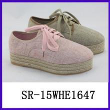 2015 grueso de hembra de cáñamo señora zapatos hechos a mano diseñador de zapatos hechos a mano zapato hecho a mano