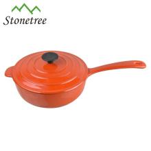 cast iron enamel frying pot with lid/cast iron enamel frying pan with lid
