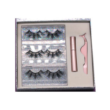 MH013H Hitomi Siberian Mink Eyelashes Private Label soft natural Fluffy 25mm Magnetic Eyelashes with Eyeliner and tweezers