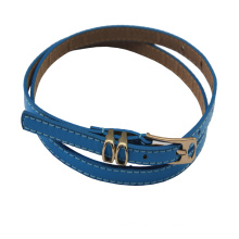 Hot Sale Shiny Blue Narrow PU Leather Belts for Dress