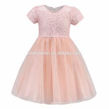 Diseños de vestidos de bebé amarillo rosa con lentejuelas vestido de la comunión de niñas vestido de niña de las flores