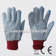 Poliéster Knit Wrist Drill algodão trabalho luvas-2100. Rd