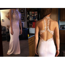 Column Scoop Neck Floor-Length Jersey Prom Dress with Beading Appliques Lace Sequins