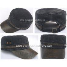 Borde de cuero lavado sombrero plano militar vaqueros diseño en blanco