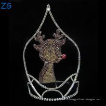 Модный дизайн Rhinestone Deer Tiara для детей, милый мальчик короны, дети металлические диадемы