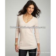 new fashion women knitting pure cashmere v neck pullover