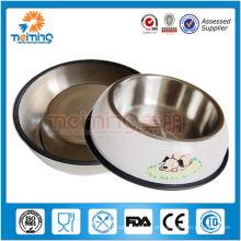 Alimentador de cão de aço inoxidável anel de borracha anti-derrapante