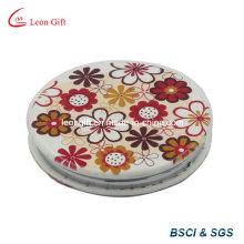 Anúncio de espelho cosmético personalizado couro PU flor