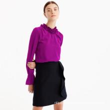 Cinched Sleeves Ruffle Neck Silk Shirt