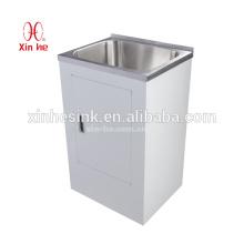 Австралия, Новая Зеландия Стиль 30л/38 Л/45л из нержавеющей стали Прачечная раковина ванна с белым цветом доски шкафа с одиночной дверью