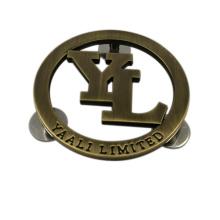 Forma redonda con tornillos Placa de encargo del logotipo del metal para bolsos