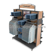 Floor Rolling Wooden Garment Rack, Factory Price 2-Way Jeans Shirts Display Garment Rack Supllier