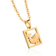 24 Karat Gold Schmetterling Tag Anhänger Halskette Ketten Schmuck Charms Anhänger