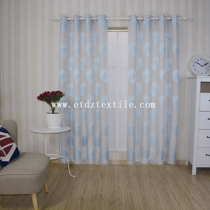 WZQ172 Sky Blue 2015 Top Sell Linen Touching 100% Polyester Curtain Fabric