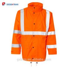 Imperméable de sécurité de visibilité élevée avec des capots, veste imperméable de catégorie 3 de Vis et pantalon de la classe E