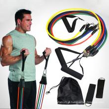 11 PCS Faixa de Resistência Definir Yoga Pilates Abs Exercício Faixas de Treino de Tubo de Fitness