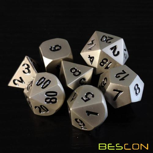 Bescon Heavy Duty Solid Metal Dice Set Nickle Finish, Metallic Polyhedral D&D RPG Game Dice 7pcs Set