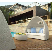 Wicker Rattan Outdoor Patio Pool Chair with Shade