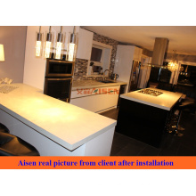 Real picture from Canada Client after installation high end quality wooden kitchen cabinet
