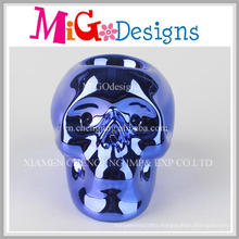 Amazing Blue Eletroplate Color Ceramic Skull Money Bank