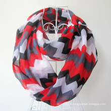 Woman Fashion Wave Printed Polyester Chiffon Infinity Scarf (YKY1099)