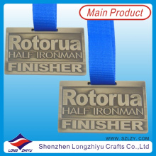 Rectangle Embossed Text Aluminum Medal with Ribbon