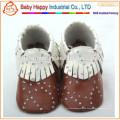 Nuevos zapatos de cuero suaves de lujo de los muchachos de los bebés 0-6 6-12 12-18 18-24 M