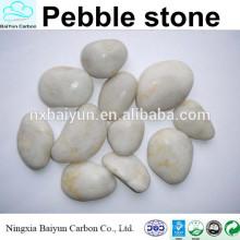 Piedra de guijarro blanco pulido alto, jardín de guijarros barato