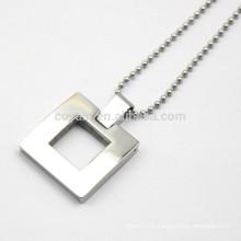 Unisex Hollow Out Metal Silver Square Pendant Necklace