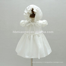 Haute qualité bébé filles baptême anniversaire robe bébés baptême robe avec chapeau