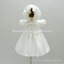 Высокое качество девочки Крещение платья день рождения младенцы Крещение платье со шляпой