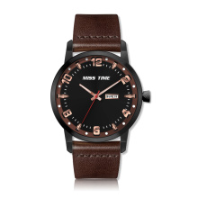 fashion black stainless steel back leather strap quartz watch