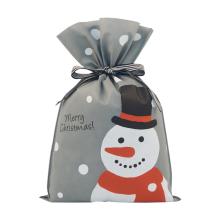 Sacs à cordon de Noël non tissés gris bonhomme de neige