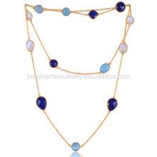Onyx azul, lapislázuli, arco iris y collar plateado oro