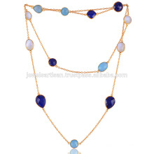 Blue Onyx, Lapis, Rainbow and Gold Plated Necklace