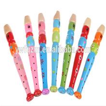 Fornecimento de fábrica barato colorido flauta de brinquedo de madeira