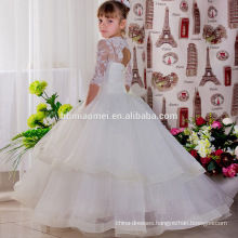 White Long Length Lace Princess Dress Puffy Sleeve Baby Girl Party Dress Children Frocks Designs