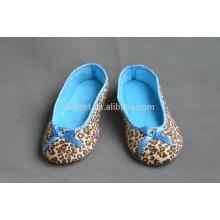 leopard print quiet women indoor warm soft sole ballet dancing slipper sock