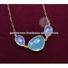 Wholesale supplier For Natural Chalcedony Gemstone Long Chain Necklace For Women