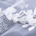 Pure White 3D Flower Lace Stickerei Stoff