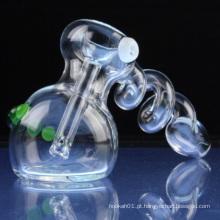 Bobina de vidro Spiral Bubbler para o fumo com cristal (ES-HP-081)