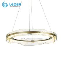 Lustre de cristal redondo de vidro LEDER