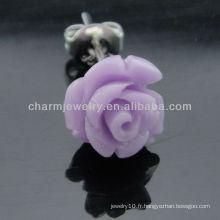 Boucle d'oreille en érable en érable en émeraude en forme de rose de 10 mm en érable en épi EF-009